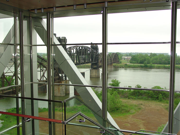 A view of the bridge crossing the Arkansas River