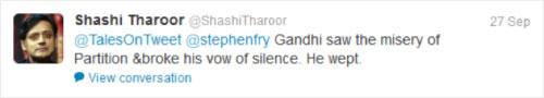 Tweet by Shashi Tharoor