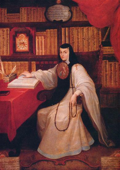 Retrato de Sor Juana Inés de la Cruz. por Miguel Cabrea, 1750