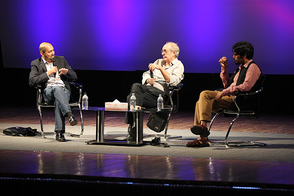 From left: K. Anis Ahmed, Eliot Weinberger, and Pankaj Mishra at the Hay Festival Dhaka, November 14, 2013.
