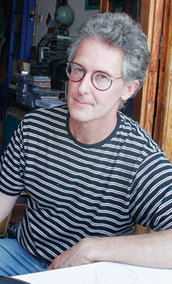 Bruno Montané Krebs wearing a striped shirt.