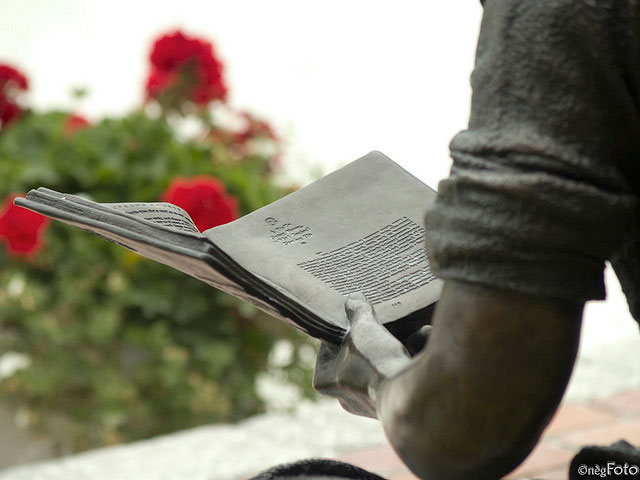 Sculpture of person reading a book in a park with red flowers