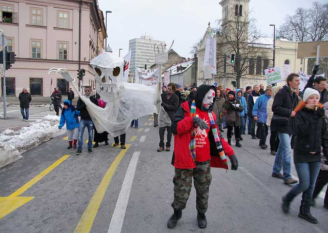 Protestors dressed as zombies in Slovenia. Photo by Jumpin' Jack/Flickr