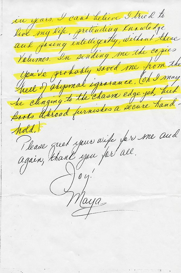 Maya Angelou's handwritten letter to WLT, page 2