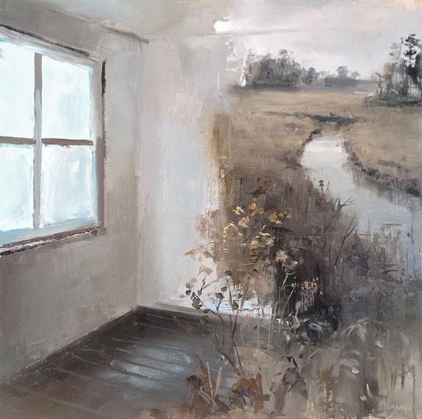 Jeremy Miranda,  Salt Marsh, 2014, acrylic on panel. Courtesy of the artist.
