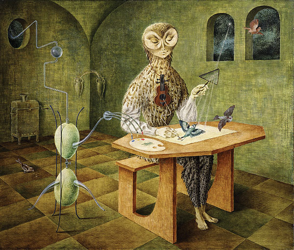 Remedios Varo, Creation of the Birds (La creación de las aves), 1957, oil on masonite, © by the artist, dacs/vegap.
