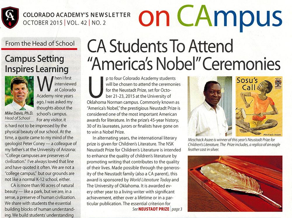 Colorado Academy news clipping