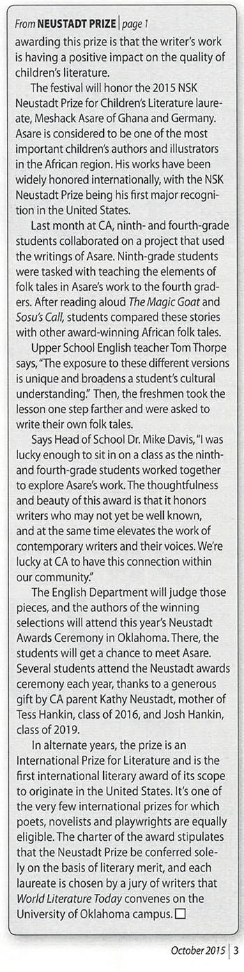 Colorado Academy news clipping, page 2