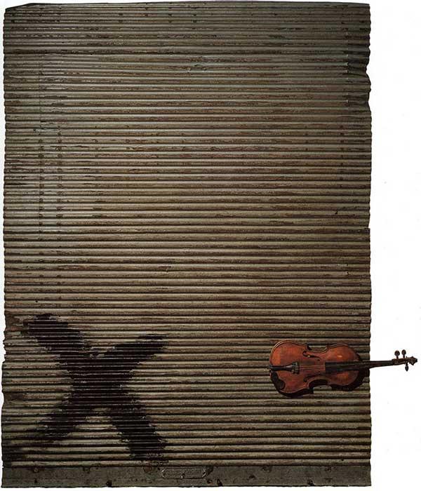 Antoni Tàpies, Porta metàl·lica i violí, 1956, 200 x 150 x 13 cm.