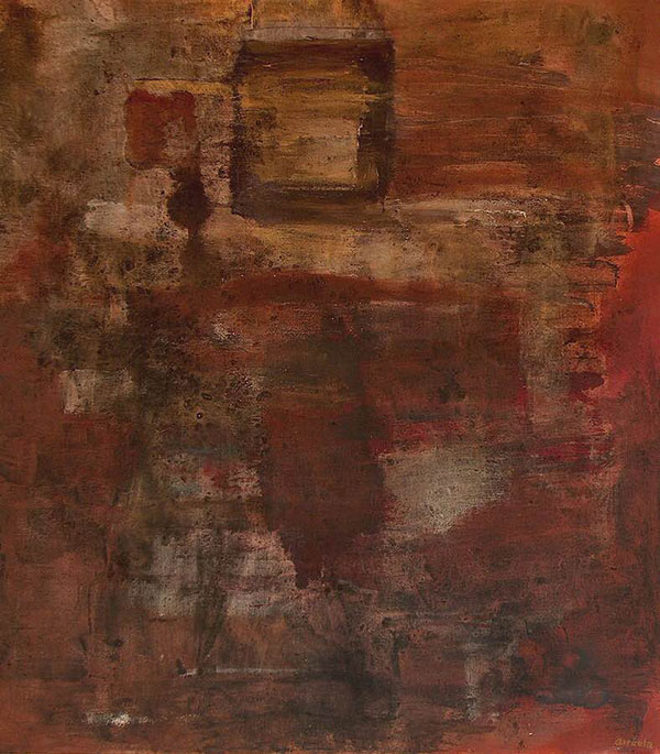 Guillermo Arreola, Ni tú escaparás (2005), mixed media on canvas, 90 x 80cm. Courtesy of the artist.