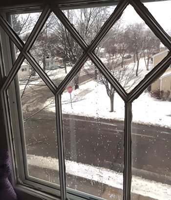 A view of snow from a window