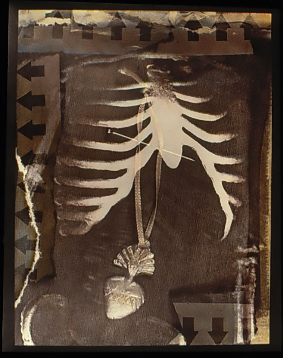 "Kathy Vargas (b. 1950, San Antonio), Oración: Valentine's Day / Day of the Dead [Rib Cage], ca. 1989–90, gelatin silver print with hand-coloring, 24x20 in. Vargas writes, ""This series began as a remembrance of friends who recently died of AIDS."""