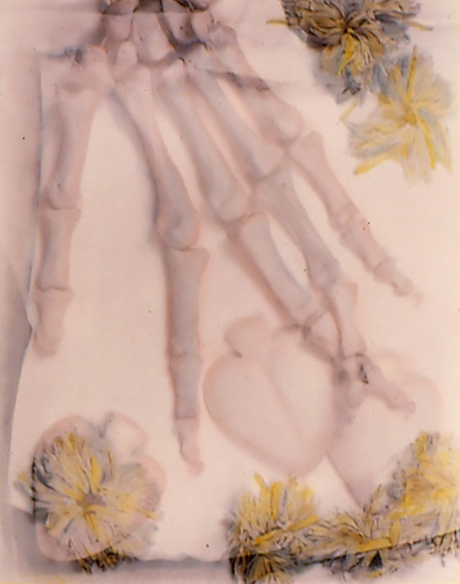 Kathy Vargas (b. 1950, San Antonio), Oración: Valentine's Day / Day of the Dead [Hand], ca. 1989–90, gelatin silver print with hand-coloring, 24x20 in.