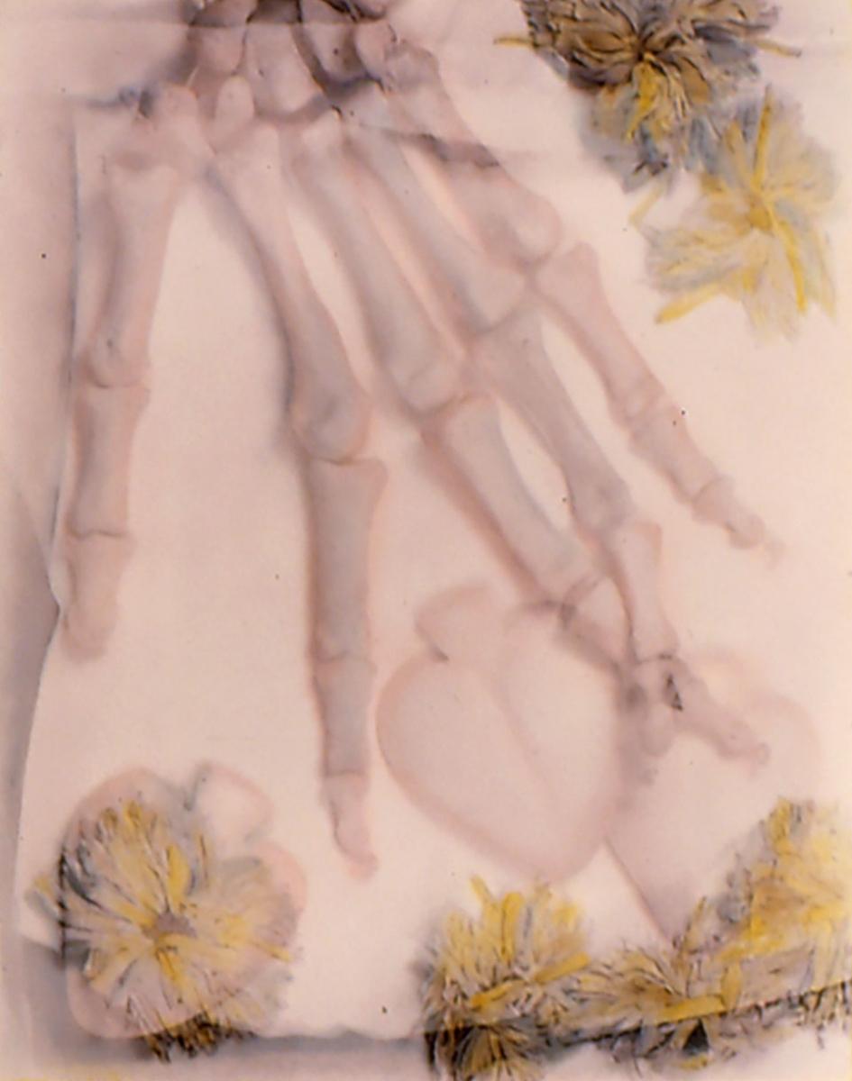 Kathy Vargas (b. 1950, San Antonio), Oración: Valentine's Day / Day of the Dead [Hand], ca. 1989–90, gelatin silver print with hand-coloring, 24x20 in.