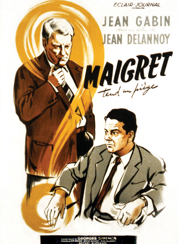 A poster from the 1958 film adaptation of Maigret tend un piège (Maigret Sets a Trap)