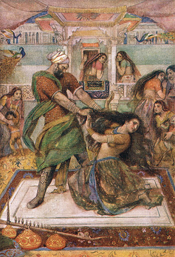 "Evelyn Paul, Draupadi Dragged from Her Chamber, 1912, color lithograph from Stories of Indian Gods and Heroes, by W. D. Monro. An ad for the book claimed Monro's tales were ""thoroughly infused with all the glamour and warmth of color of the East."""