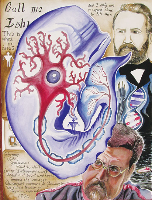 Eric Gansworth / Sìha-weñ na-sae (Onondaga), Elemental Gratitude: Water (2010), gouache on paper, 24 x 18 in / Courtesy of the artist (www.ericgansworth.com)