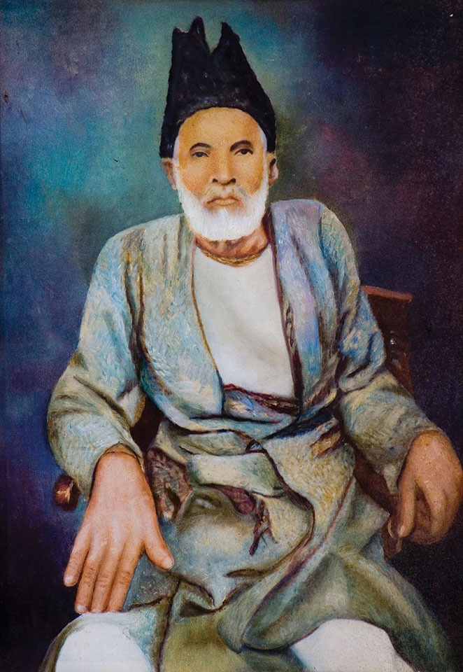 "Portrait of ""the master of the ghazal"" Ghalib, by Urdu Shayar. Dinodia Photos / Alamy Stock Photo"