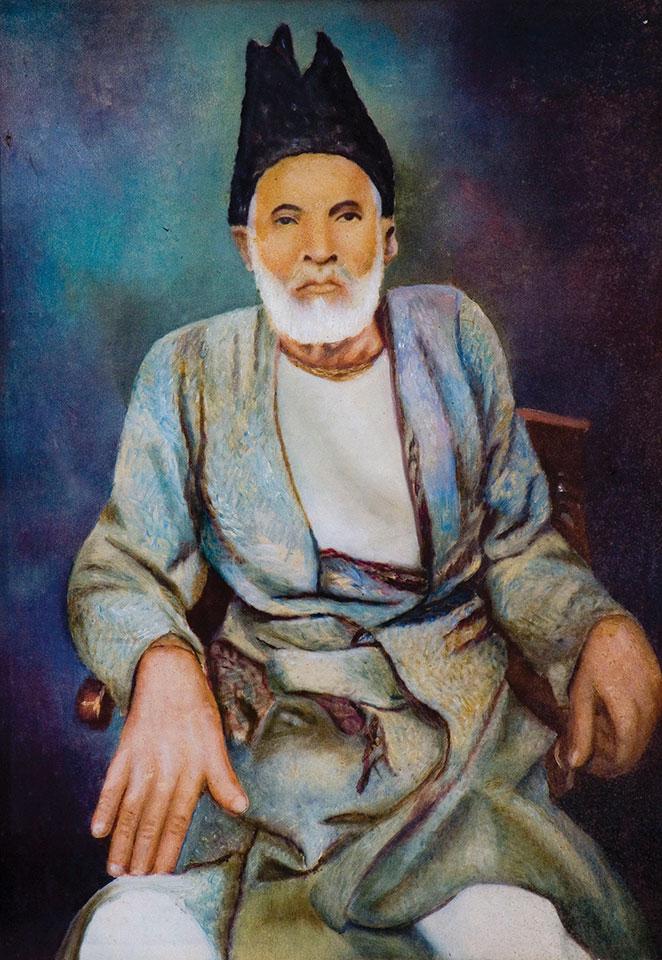 "Portrait of ""the master of the ghazal"" Ghalib, by Urdu Shayar. Dinodia Photos / Alamy Stock Photo"