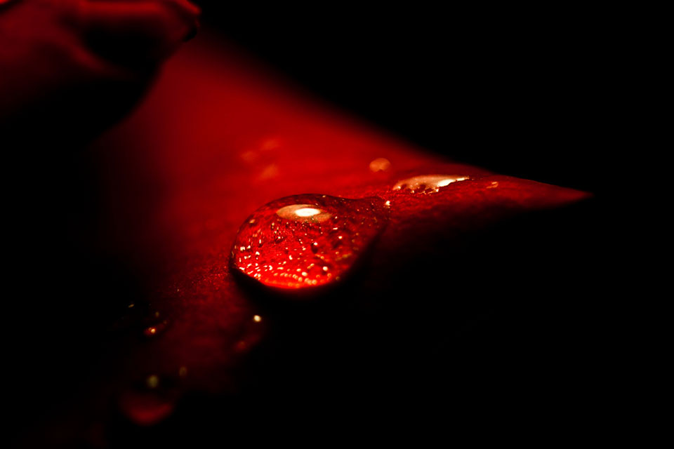 Red water droplet.