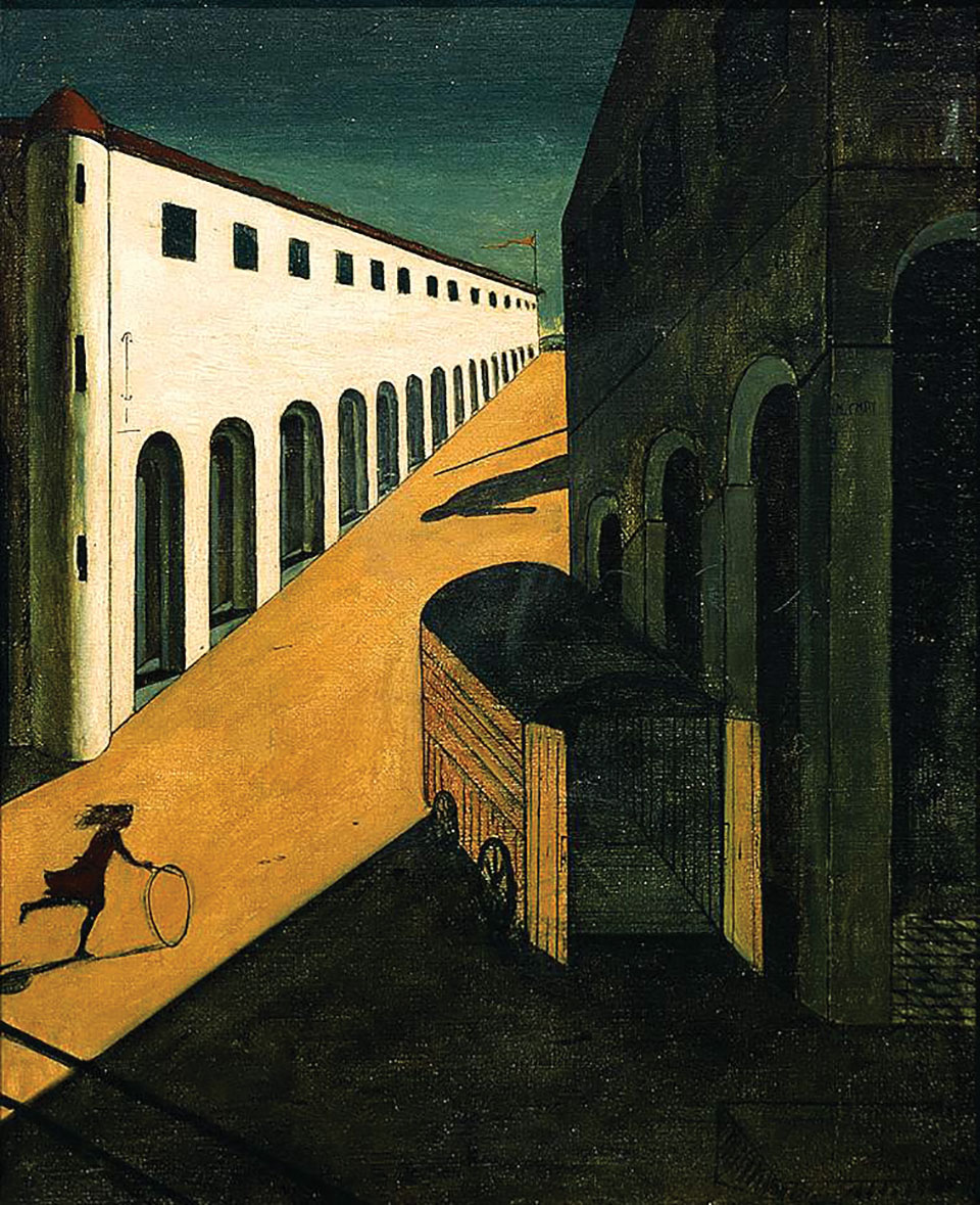 An oil painting of the silhouette of a girl rolling a hoop up a street between two buildings. An ominous shadow of a man, perhaps carrying a spear enters the scene from above.