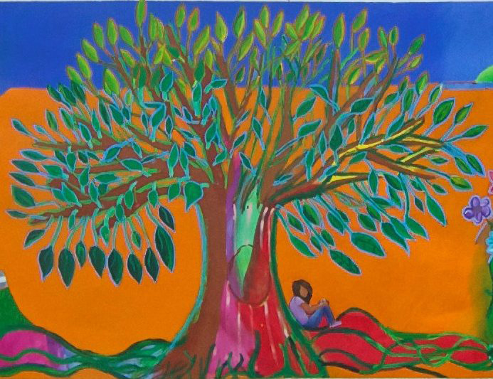 "This ""Tree of Life"" mural, made by undocumented children, hangs in the maximum-security detention facility where Michelson and his students conducted poetry workshops with unaccompanied immigrant youth / Courtesy of The Columns / Washington & Lee University"