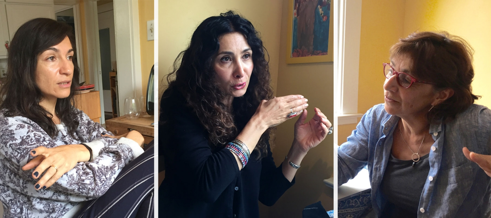Left to Right: Laleh Khadivi, Sholeh Wolpé, and Persis Karim joined around Karim's kitchen table to discuss the literature of Iranian Americans.