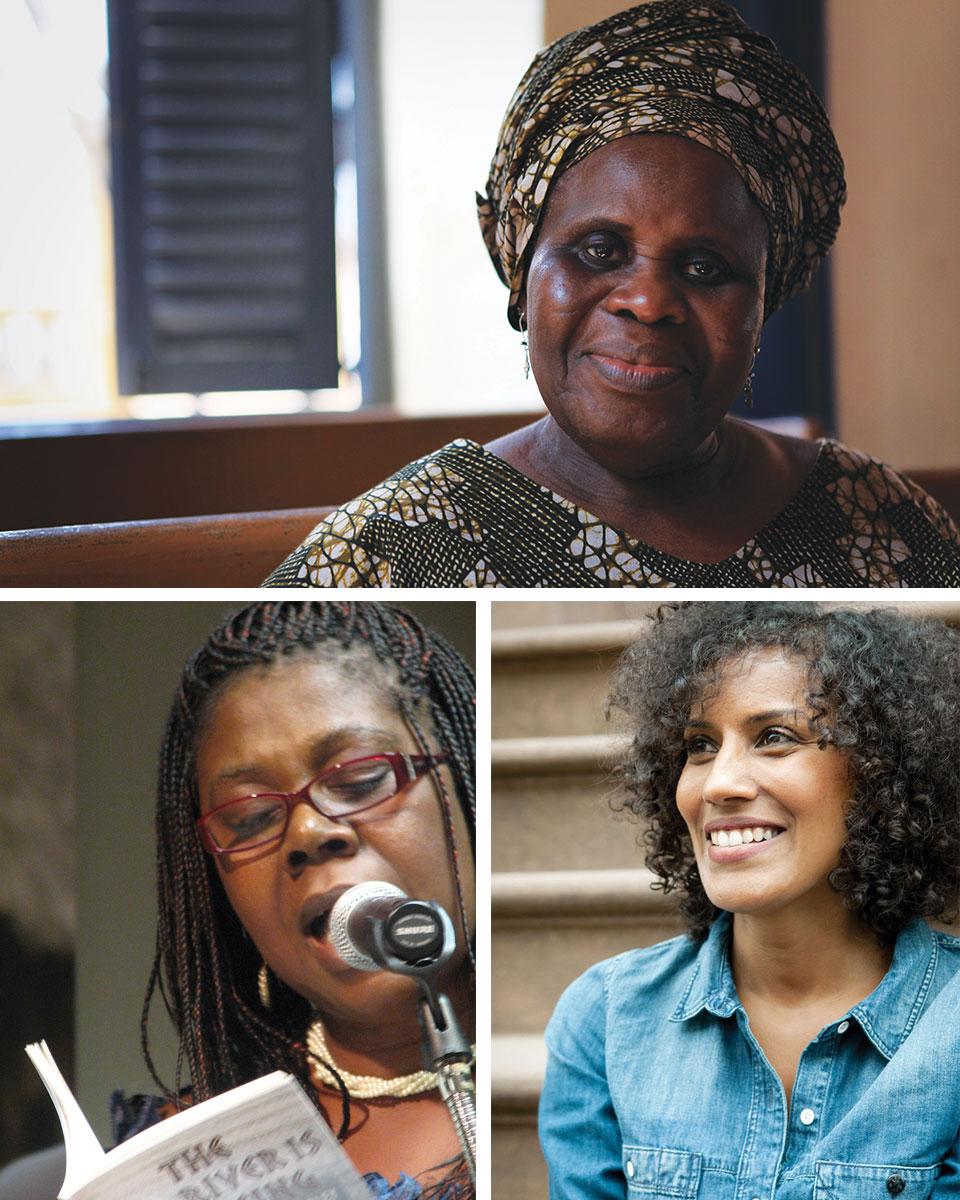 Clockwise from Top: Ama Ata Aidoo, Aracelis Girmay, Patricia Jabbeh Wesley