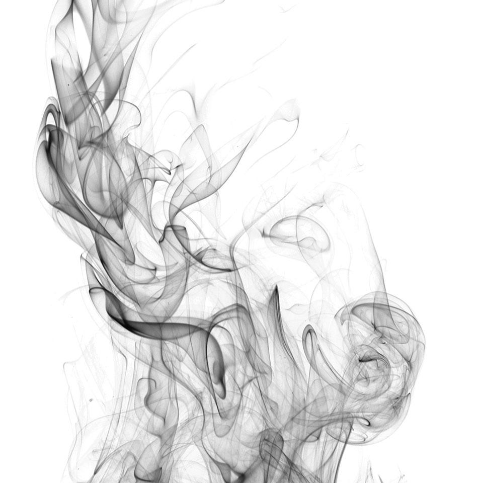 A black and white photograph of smoke