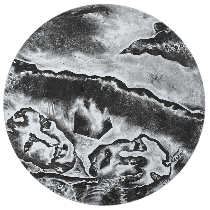 A pencil drawing of two distorted faces juxtaposed beneath what appears to the edge of a wave with another figure that could be a rock or a bird in the upper right hand corner. The whole image is a circle.
