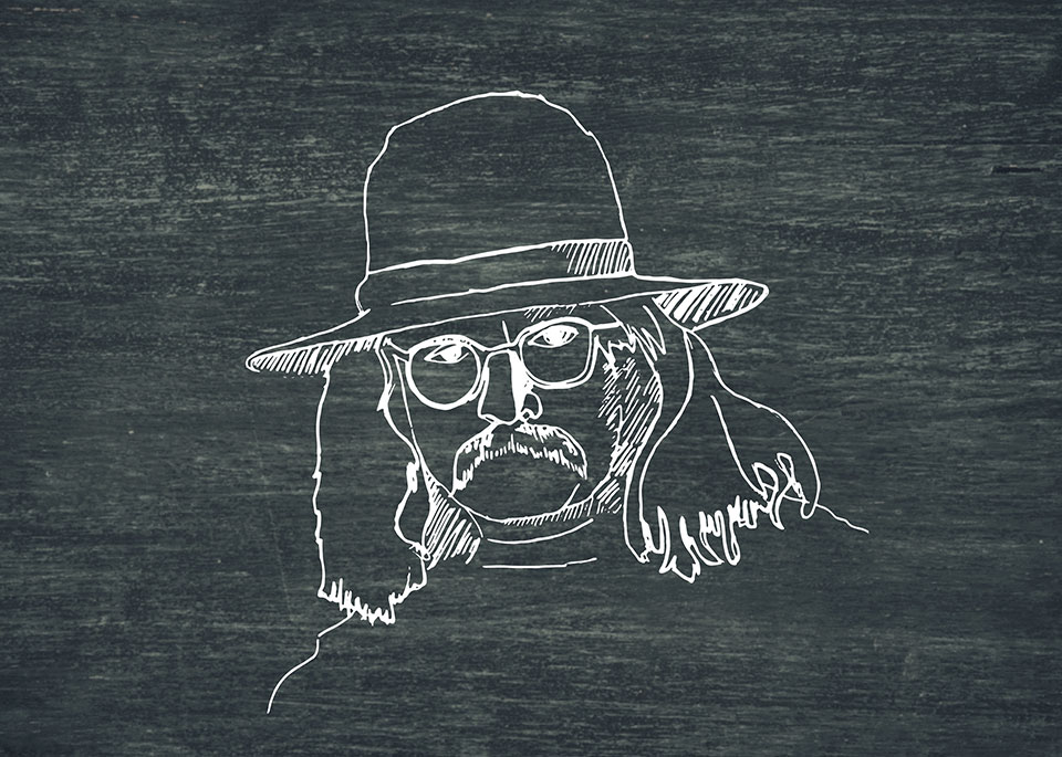 An illustration of Richard Brautigan in white on a slate background