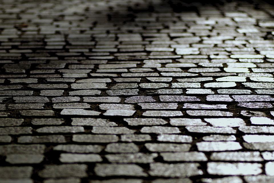 Cobblestones glittering under a street lamp