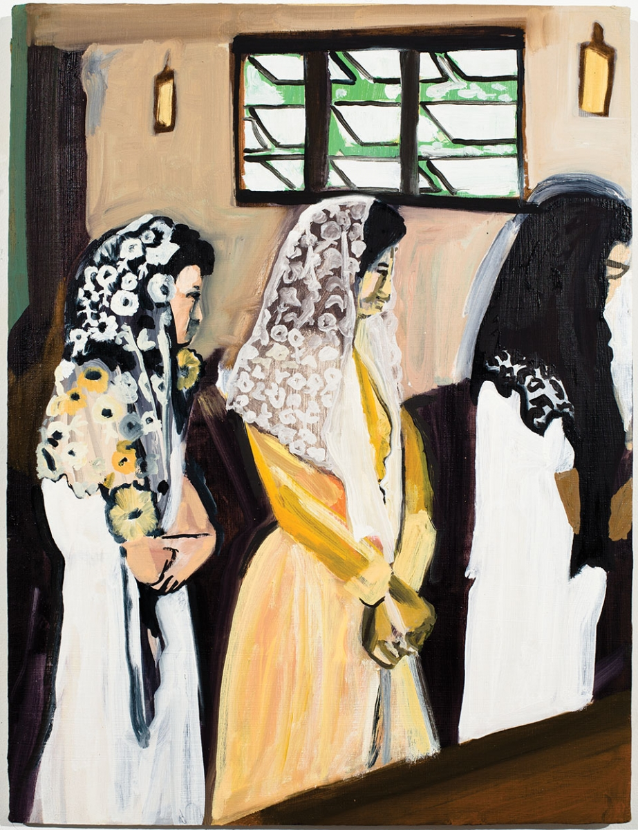Three veiled figures painted in an early modernist style.