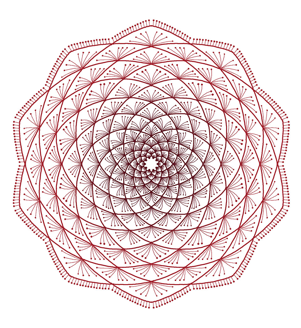 An intricate mandala traced in thin henna red lines