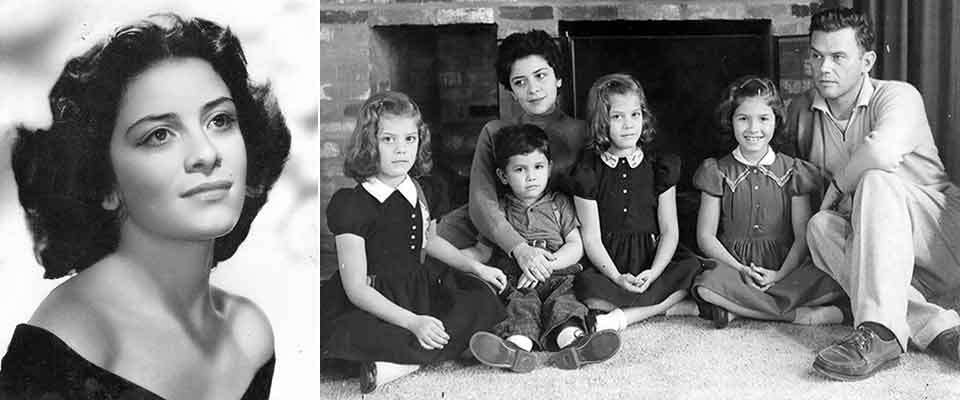 A photo of Claribel Alegría taken in 1953 juxtaposed with a photo of the Flakoll-Alegría family in 1959