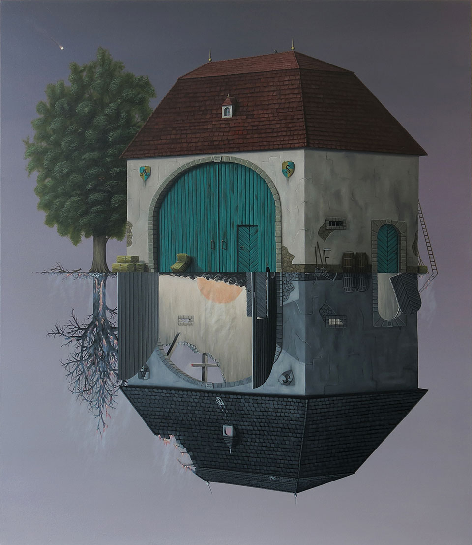 A painting of two houses, one bright and right side up, the other dark and upside down, meeting at their floors