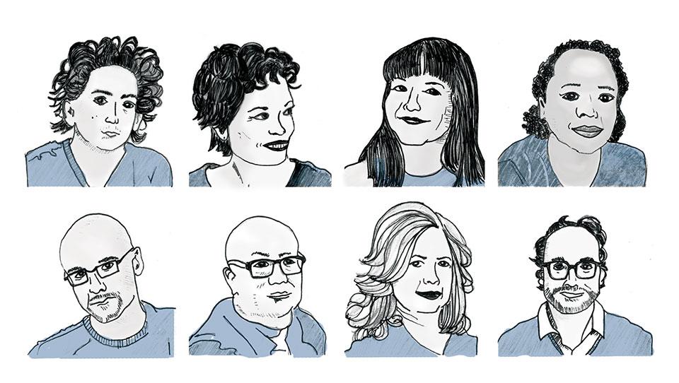 Digital illustrations of Daniel Alarcón, Julia Alvarez, Sandra Cisneros, Edwidge Danticat,  Junot Díaz, Ha Jin, Esmeralda Santiago, and Gary Shteyngart