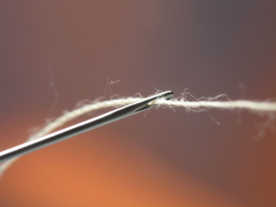 An extreme close-up of a thread passing through the eye of a needle