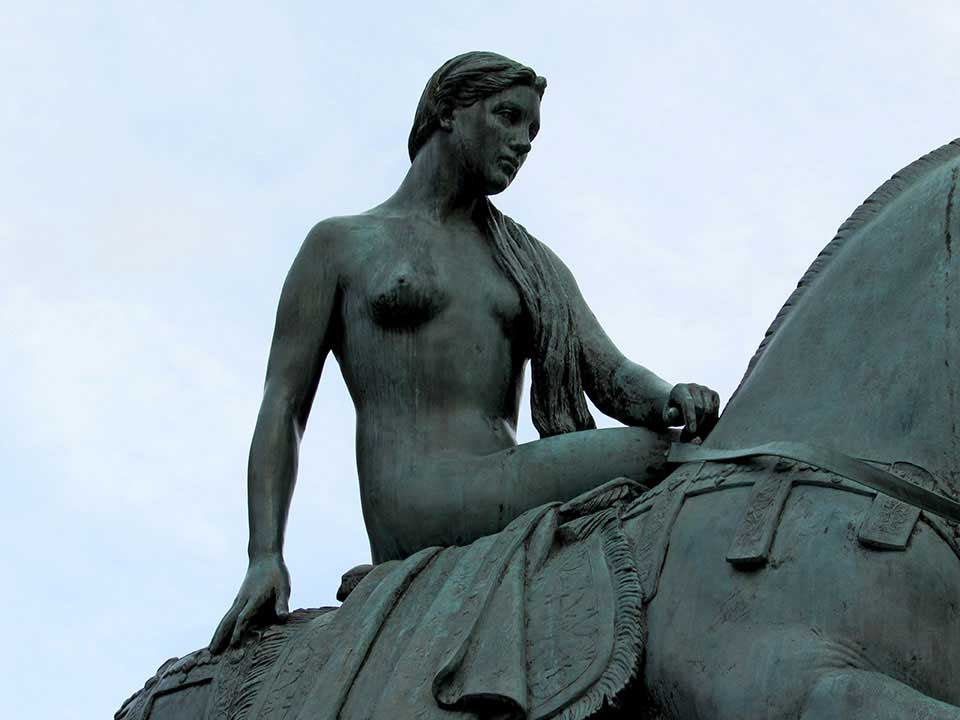 A statue of Lady Godiva, nude astride a horse