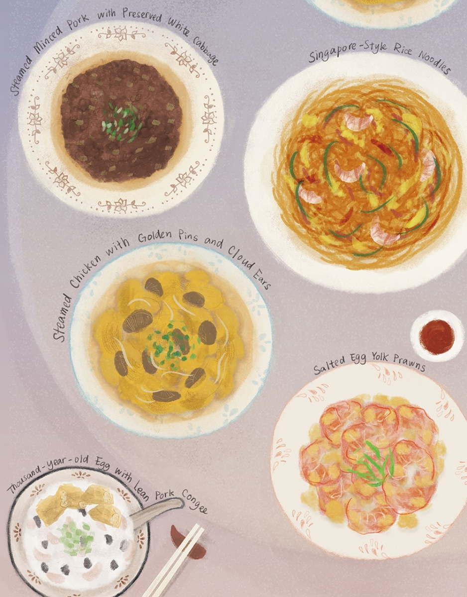 An illustration showing four Hong Kong food dishes. Text surrounding reads Steamed Minced Pork with Preserved White Cabbage, Singapore Style Rice Noodles, Steamed Chicken with Golden Pins and Cloud Ears, Salted Egg-Yolk Prawns, and Thousand-Year-Old Egg with Lean Pork Congee