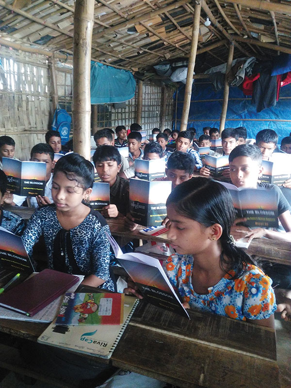 Rohingya children in a school in a refugee camp