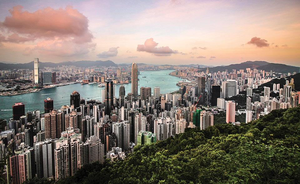 A panoramic shot of Hong Kong