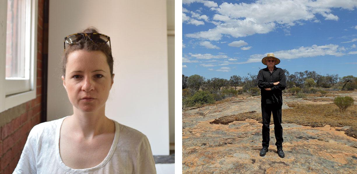 Photographs of Helen Johnson and John Kinsella juxtaposed