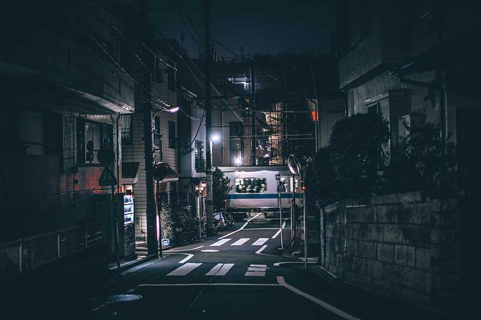 A photograph of a surreal city at night