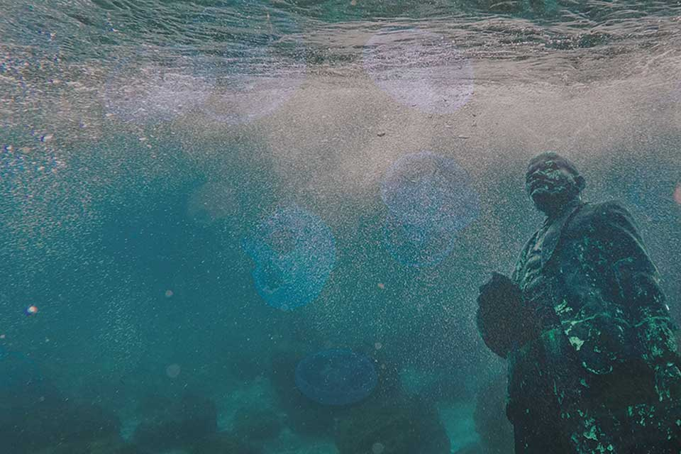 An underwater photo with a decaying statue of Lenin at the extreme right of the frame