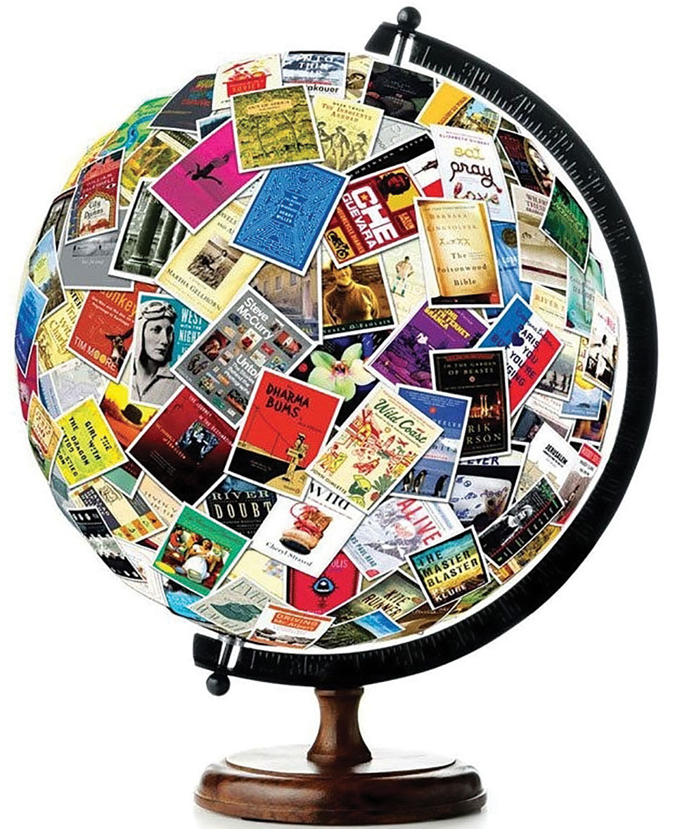 A globe covered in book covers