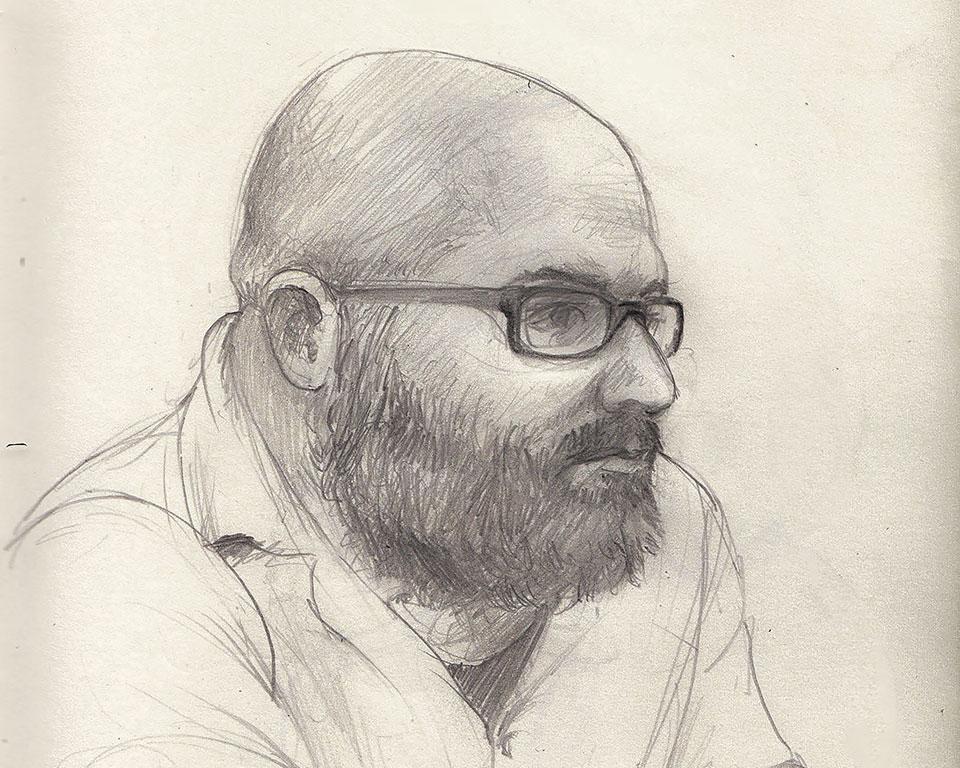 A pencil drawing of Zisis Ainalis