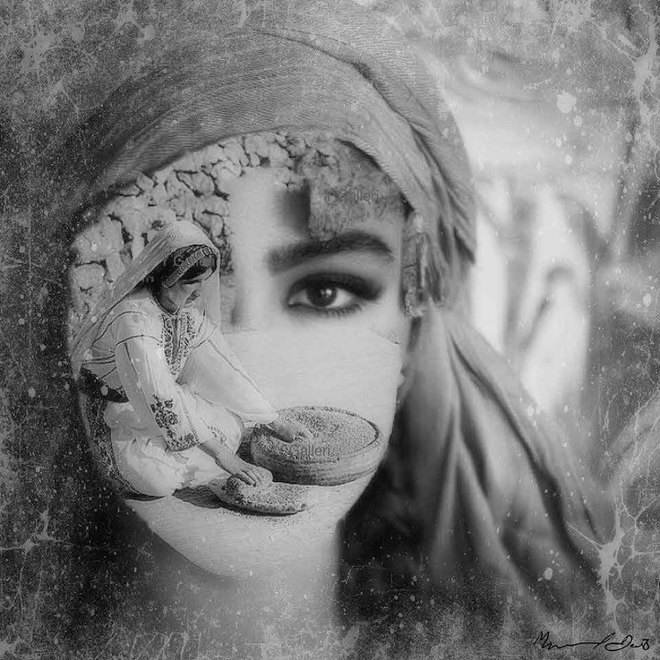 A black and white photomontage of a woman's partially veiled face with an image of a woman making flat bread partially obscuring her face