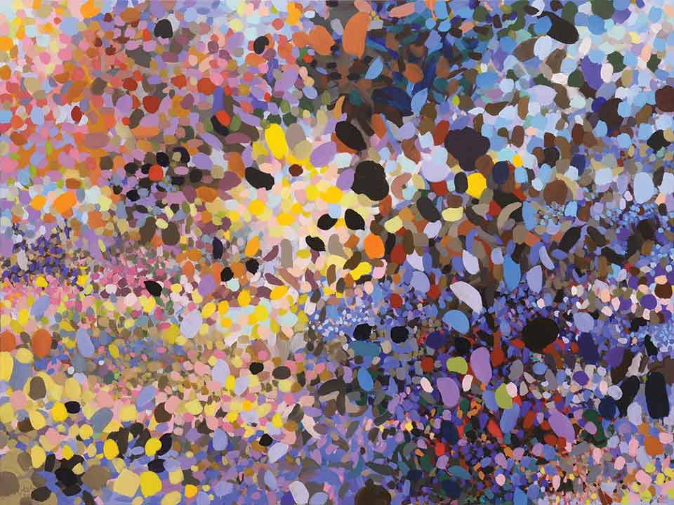 An abstract painting composed of round colorful shapes