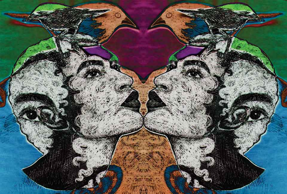 A multimedia illustration with two female heads, identical and facing one another but looking upwards